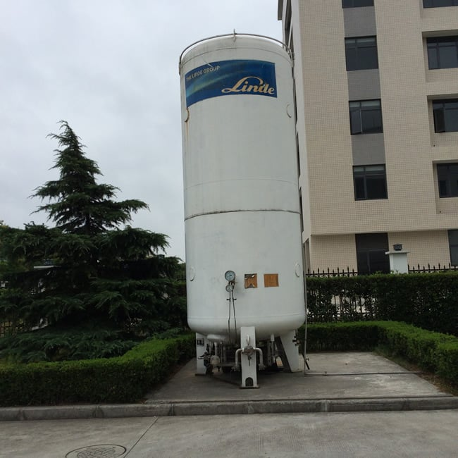 Tanks for carbon dioxide outside Shanghai factory